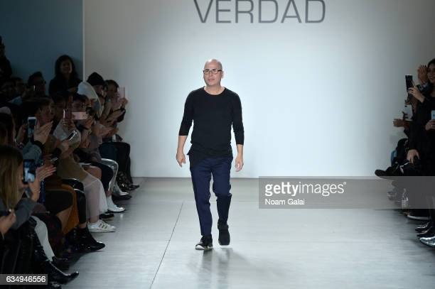 Designer Louis Verdad walks the runway for the Verdad fashion show during New York Fashion Week at Pier 59 on February 12 2017 in New York City