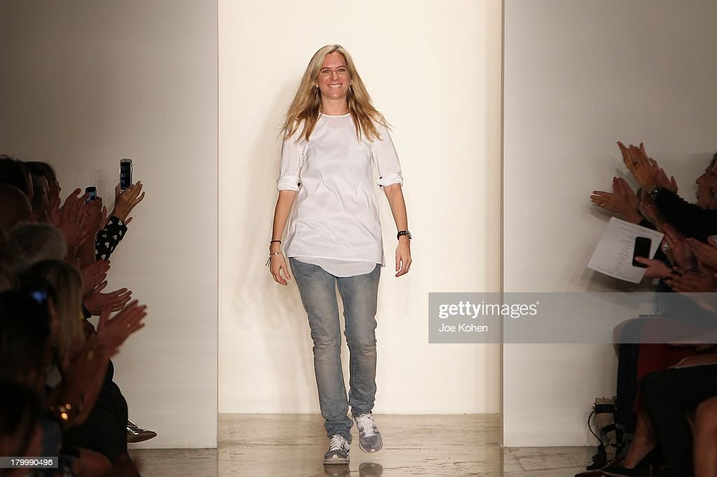 Designer Louise Goldin walks the runway at the Louise Goldin fashion show during MADE Fashion Week Spring 2014 at Milk Studios on September 7, 2013 in New York City.
