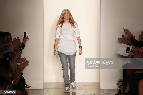 Designer Louise Goldin walks the runway at the Louise Goldin fashion show during MADE Fashion Week Spring 2014 at Milk Studios on September 7 2013 in...