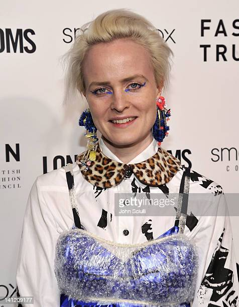Designer Louise Grey attends the British Fashion Council's LONDON Show ROOMS LA opening cocktail party at Smashbox Studios on March 12 2012 in West...