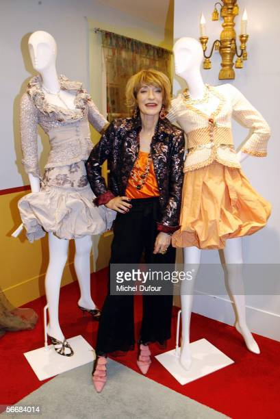 Designer Loulou de la Falaise poses with her collection at her Cocktail Party during Paris Fashion Week Spring/Summer 2006 on January 24, 2006 in...