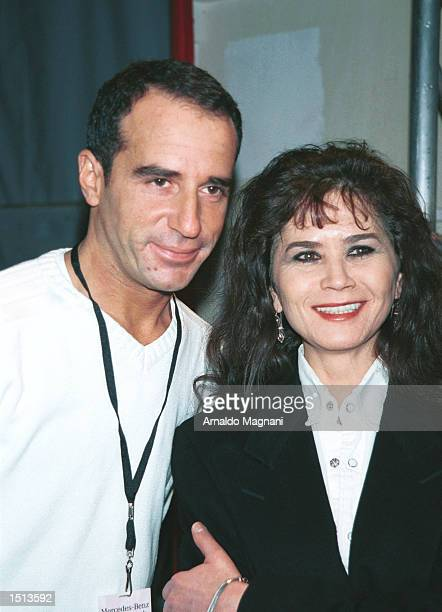Designer Loyd Klein poses with actress Maria Schneider star of Last Tango in Paris February 16 2001 after Klein's Fashion Show in New York City