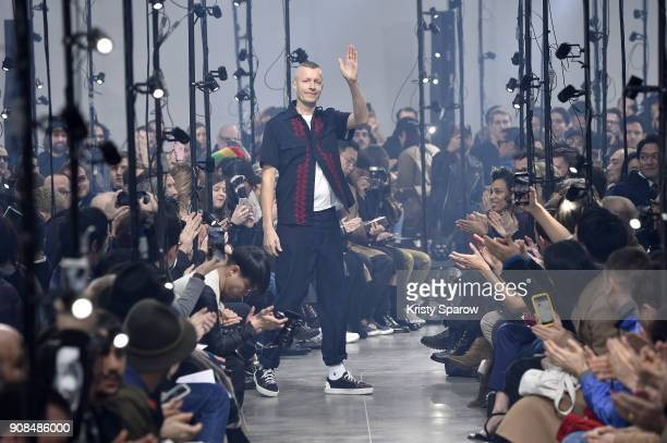 Designer Lucas Ossendrijver acknowledges the audience during the Lanvin Menswear Fall/Winter 2018-2019 show as part of Paris Fashion Week on January...