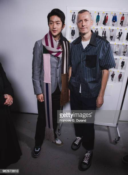 Mikky Ekko and Brice Butler attend the Lanvin Menswear Spring/Summer 2019 show as part of Paris Fashion Week on June 24 2018 in Paris France