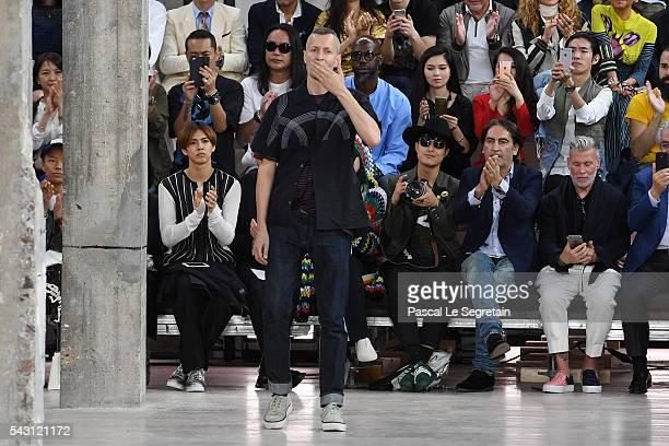 Designer Lucas Ossendrijver walks the runway during the Lanvin Menswear Spring/Summer 2017 show as part of Paris Fashion Week on June 26, 2016 in...
