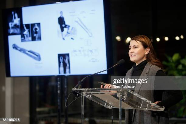 Designer Lucy Jones speaks during NYT Mag Design Event at A/D/O on February 9 2017 in Brooklyn New York