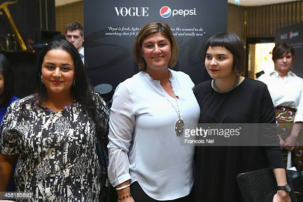 Designer Lulwa Al Amin CEO of PepsiCo UAE Carla Hussan and Designer and winner of the 'The Pulse of new Talent' project by Pepsi and Vogue Italia...