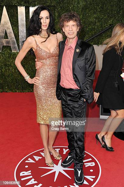 Designer L'Wren Scott and singer Mick Jagger arrive at the Vanity Fair Oscar party hosted by Graydon Carter held at Sunset Tower on February 27, 2011...