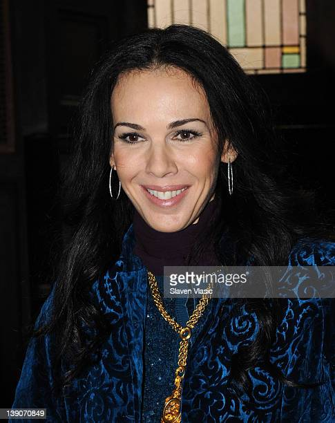 Designer L'Wren Scott poses at the L'Wren Scott Fall 2012 fashion show during MercedesBenz Fashion Week at the Desmond Tutu Center on February 16...