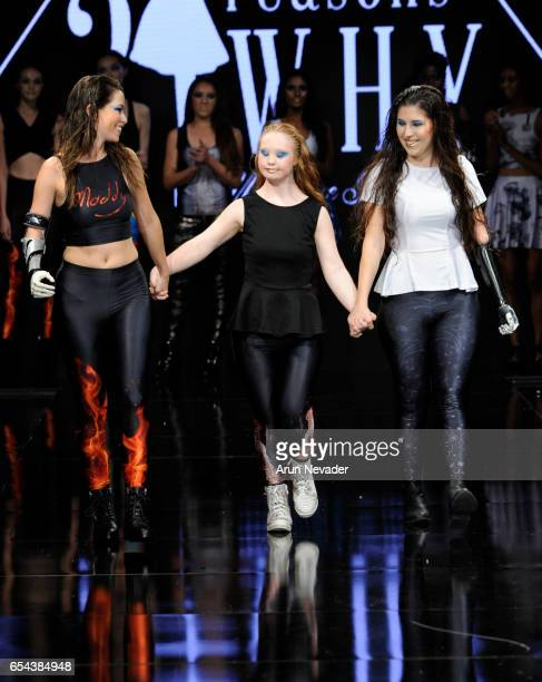 Designer Madeline Stuart walks the runway at Art Hearts Fashion LAFW Fall/Winter 2017 Day 3 at The Beverly Hilton Hotel on March 16 2017 in Beverly...