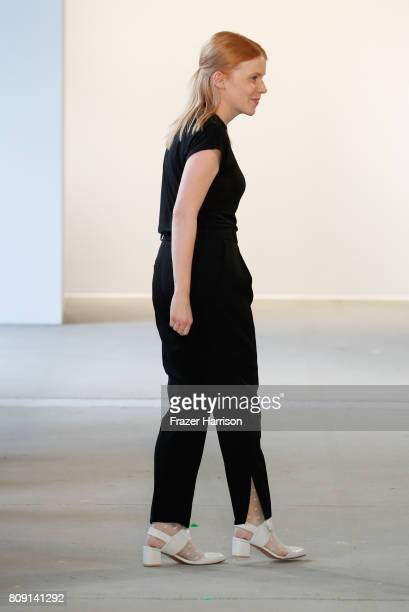 Designer Malaika Raiss acknowledges the applause of the audience at the Malaikaraiss show during the MercedesBenz Fashion Week Berlin Spring/Summer...