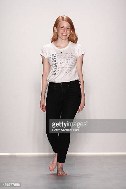 Designer Malaika Raiss appears on the runway after the Malaikaraiss show during the MercedesBenz Fashion Week Spring/Summer 2015 at Erika Hess...