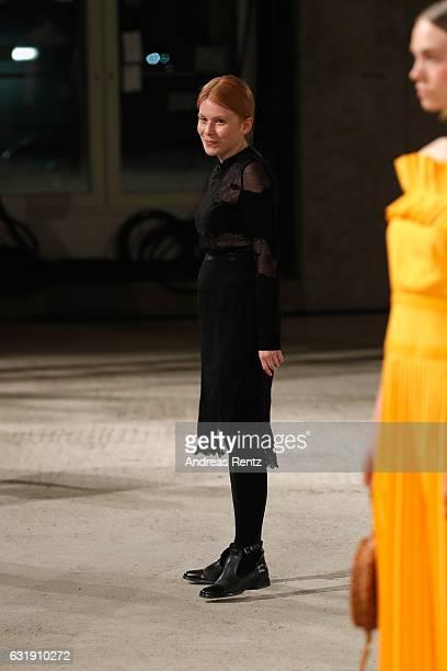 Designer Malaika Raiss walks the runway at the Malaikaraiss defile during the Der Berliner Mode Salon A/W 2017 at Kronprinzenpalais on January 17...