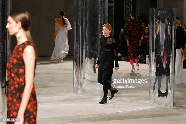 Designer Malaika Raiss walks the runway at the Malaikaraiss defile during the Der Berliner Mode Salon A/W 2017 at Kronprinzenpalais on January 17...