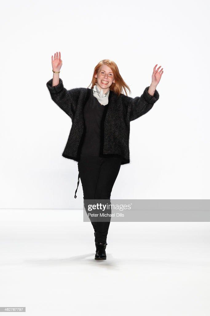 Designer Malaika Raiss walks the runway at the Malaikaraiss Show during Mercedes-Benz Fashion Week Autumn/Winter 2014/15 at Brandenburg Gate on January 15, 2014 in Berlin, Germany.