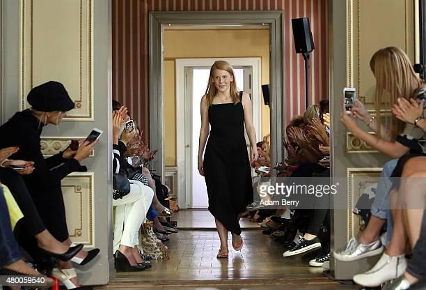 Designer Malaika Raiss walks the runway at the Malaikaraiss show during MercedesBenz Fashion Week Berlin Spring/Summer 2016 at the Palais am...