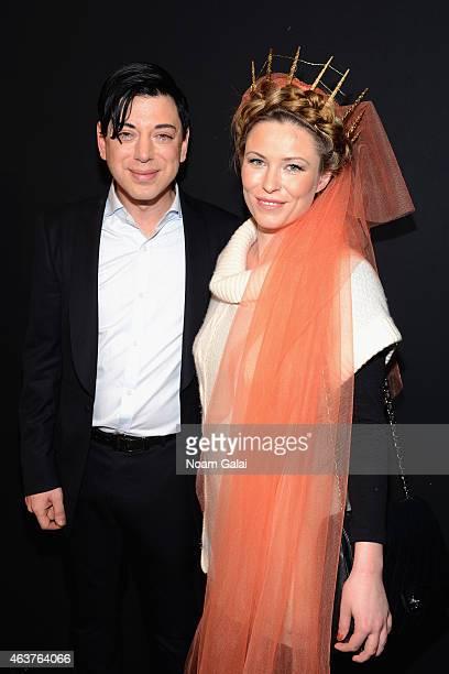 Designer Malan Breton and actress Kiera Chaplin pose backstage at the Malan Breton fashion show during MercedesBenz Fashion Week Fall 2015 at The...