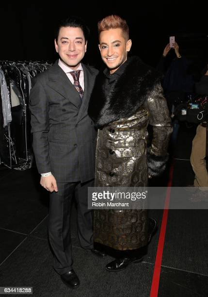 Designer Malan Breton and Frankie Grande pose backstage at Malan Breton during New York Fashion Week at The Theater at Madison Square Garden on...