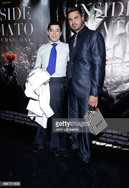 Designer Malan Breton and Rocco Leo Gaglioti attend 'Inside Amato' New York premiere at Liberty Theater on September 16 2015 in New York City