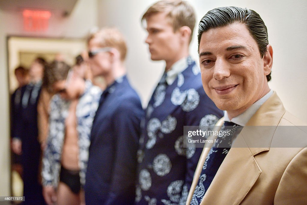 Designer Malan Breton poses backstage at his presentation during New York Fashion Week: Men's S/S 2016 on July 14, 2015 in New York City.