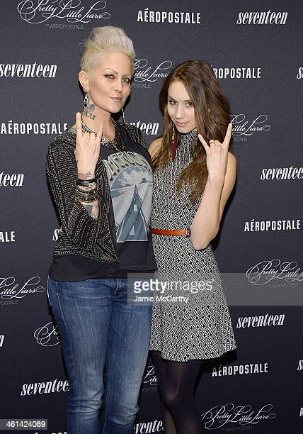 Designer Mandi Lane and actress Troian Bellisario attend the 'Pretty Little Liars' fashion collection launch event at Aeropostale Times Square on...