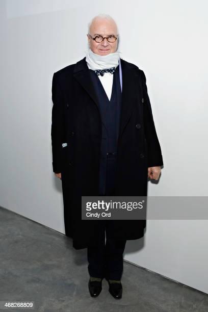 Designer Manolo Blahnik attends the Manolo Blahnik presentation during MercedesBenz Fashion Week Fall 2014 at Paul Kasmin Gallery on February 9 2014...