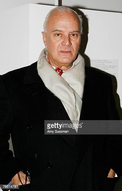 Designer Manolo Blahnik poses at the Blogmode addressing fashion exhibit at the Metropolitan Museum of Art's Costume Institute on December 17 2007 in...