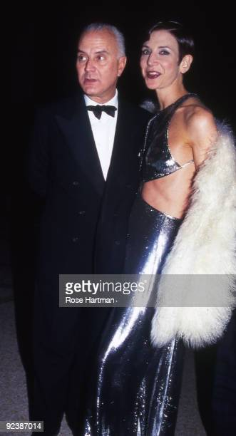 Designer Manolo Blahnik with Amy Fine Collins in New York ca2000