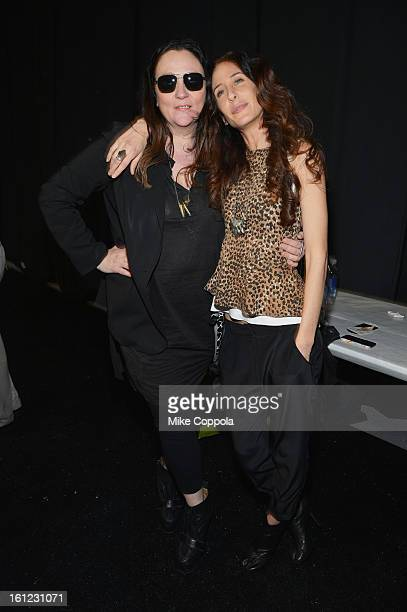 Designer Mara Hoffman and Kelly Cutrone backstage at the Mara Hoffman Fall 2013 fashion show during MercedesBenz Fashion Week at The Stage at Lincoln...