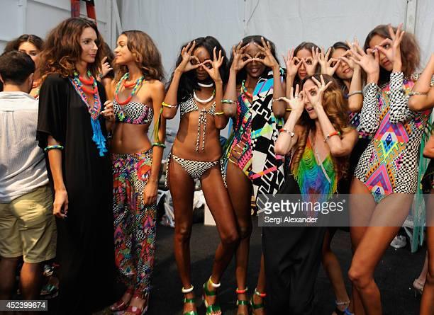 Designer Mara Hoffman poses with models backstage at the Mara Hoffman Swim fashion show during MercedesBenz Fashion Week Swim 2015 at Cabana Grande...