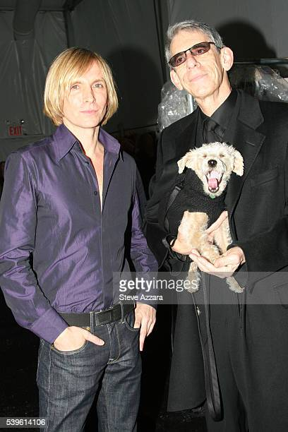 Designer Marc Bouwer and actor Richard Belzer backstage at the Marc Bouwer show at the Fall 2007 Mercedes-Benz Fashion Week in New York City.