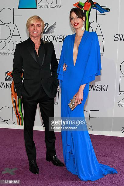 Designer Marc Bouwer and Kenza Fourati attend attends the 2011 CFDA Fashion Awards at Alice Tully Hall, Lincoln Center on June 6, 2011 in New York...