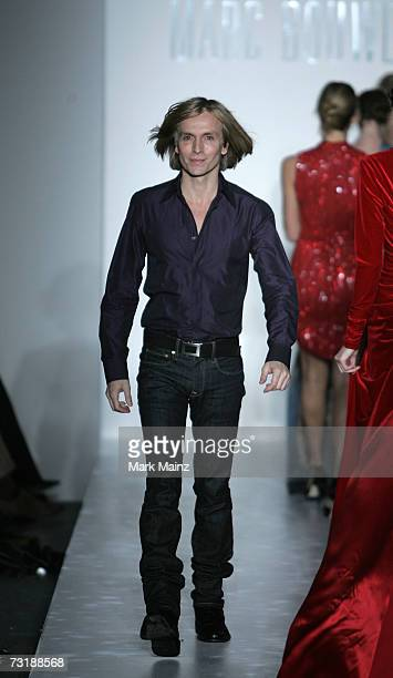Designer Marc Bouwer closes the runway at the Marc Bouwer Fall 2007 fashion show during Mercedes-Benz Fashion Week in the Salon in Bryant Park...