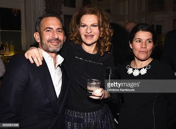 Designer Marc Jacobs actress Sandra Bernhard and writer Sara Switzer attend Marc Jacobs Beauty Velvet Noir Mascara Launch Dinner at Hotel Wolcott...