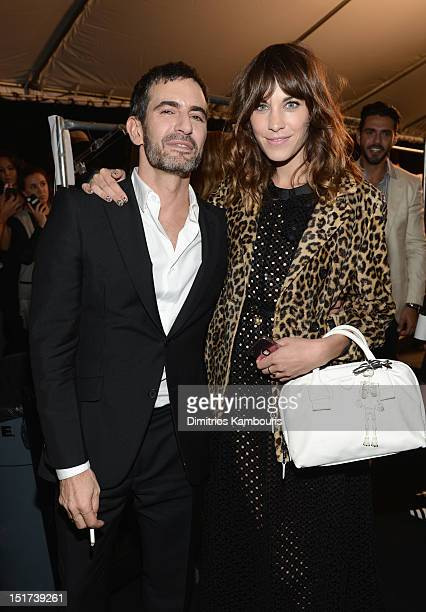 Designer Marc Jacobs and Alexa Chung backstage at the Marc Jacobs Spring 2013 fashion show during MercedesBenz Fashion Week at NY State Armory on...