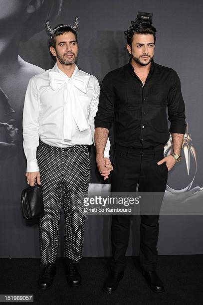 Designer Marc Jacobs and Harry Louis attend Lady Gaga 'Fame' Eau de Parfum Launch Event at Guggenheim Museum on September 13 2012 in New York City