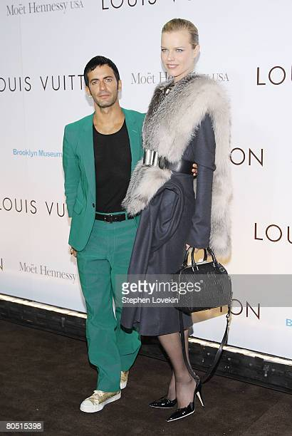 Designer Marc Jacobs and model Eva Herzigova attend the Louis Vuitton gala opening of the Murakami exhibition at The Brooklyn Museum on April 03 2008...