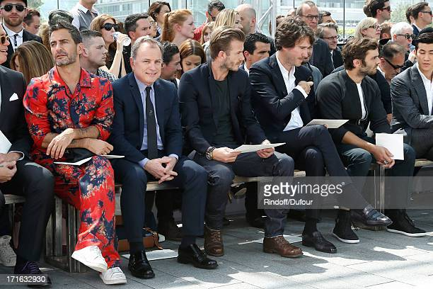 Designer Marc Jacobs CEO of Louis Vuitton Michael Burke former football player David Beckham general manager of Berluti Antoine Arnault actor Pio...