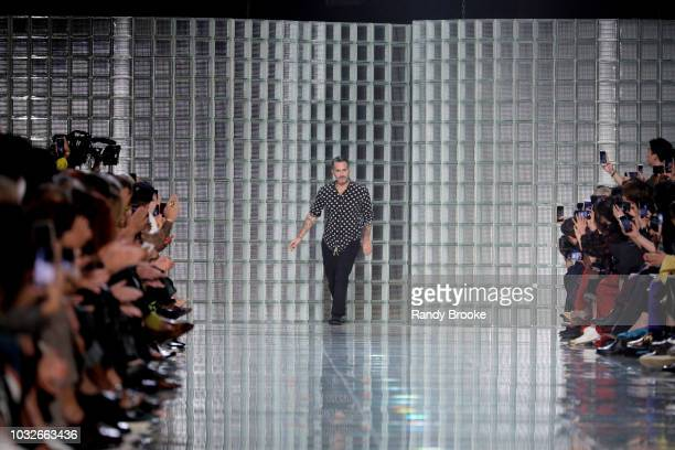 Designer Marc Jacobs greets the audience after his Marc Jacobs Spring 2019 show; September 2018, New York Fashion Week at Park Avenue Armory on...