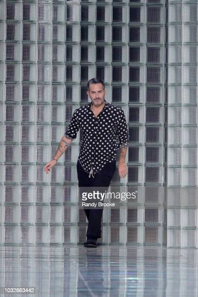 Designer Marc Jacobs greets the audience after his Marc Jacobs Spring 2019 show September 2018 New York Fashion Week at Park Avenue Armory on...