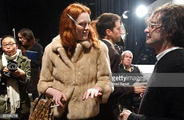 Designer Marc Jacobs prepares his models backstage during the Marc Jacobs Fall 2005 fashion show during Olympus Fashion Week February 7 2005 in New...