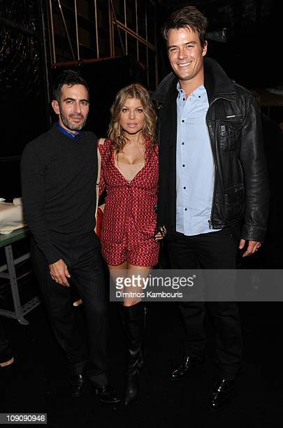 Designer Marc Jacobs, singer Fergie and actor Josh Duhamel attend the Marc Jacobs Fall 2011 Collection at N.Y. State Armory on February 14, 2011 in...