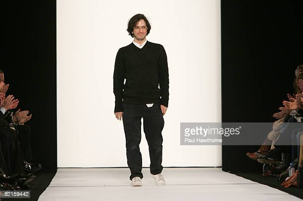 Designer Marc Jacobs walks out on the runway at the Marc by Marc Jacobs Fall 2005 show during Olympus Fashion Week at the Lexington Avenue Armory...