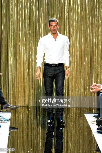 Designer Marc Jacobs walks the catwalk during the Louis Vuitton fashion show as part of Spring Summer 2008 Paris Menswear fashion week on June 29...