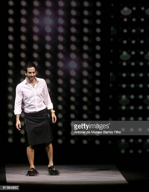 Designer Marc Jacobs walks the runway during the Louis Vuitton Pret a Porter show as part of the Paris Womenswear Fashion Week Spring/Summer 2010 at...