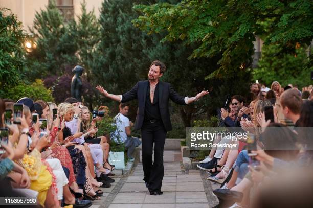 Designer Marcel Ostertag after his fashion show during Berlin Fashion Week Spring/Summer 2020 at Westin Grand Hotel on July 3 2019 in Berlin Germany