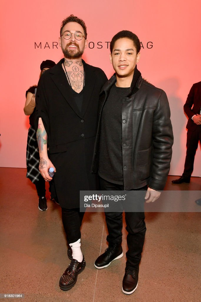 Designer Marcel Ostertag (L) and actor Jeremy L. Carver attend the Marcel Ostertag front row during New York Fashion Week: The Shows at Gallery II at Spring Studios on February 14, 2018 in New York City.