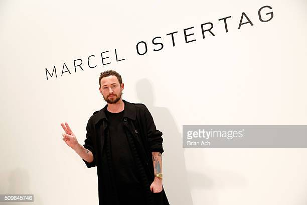 Designer Marcel Ostertag attends the Marcel Ostertag show Backstage at The Gallery Skylight at Clarkson Sq on February 11 2016 in New York City