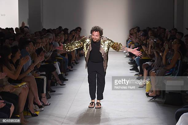 Designer Marcel Ostertag greets the audience from the stage during the Marcel Ostertag fashion show during New York Fashion Week September 2016 at...