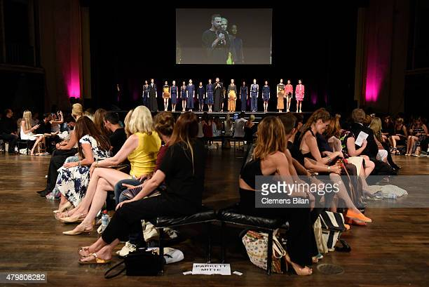 Designer Marcel Ostertag on the runway at the Marcel Ostertag show during the MercedesBenz Fashion Week Berlin Spring/Summer 2016 at Admiralspalast...